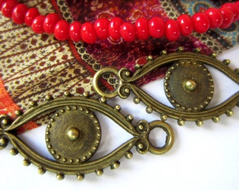18 Evil eye connector charms antique bronze metal jewelry connectors bracelet links boho chic 30mm x 12mm 8943 BB2