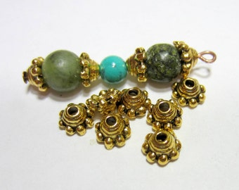 36 Antique gold Bead caps jewelry making supplies 5mmx 3mm bead caps GLF0805-X6
