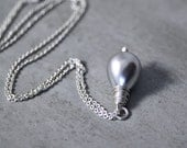 Sleighbell Necklace, Silver Shell Pearl Drop Necklace, Winter Snow Sterling Silver Chain Necklace Christmas Gift