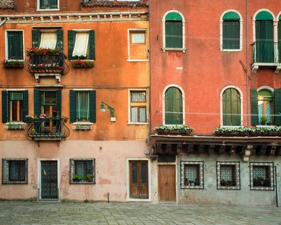 Venice Photograph Italy Photo Italian Architecture Orange Red