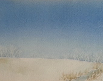 """Original Watercolor, Below Zero, 7.5"""" h. x 11.25"""" w."""