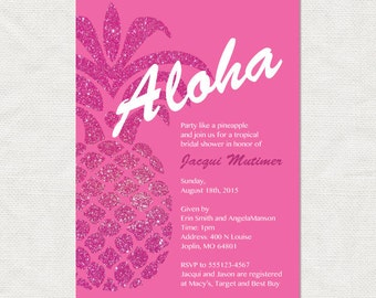 tropical bridal shower invitation pineapple party invite, pink Hawaiian birthday invite, digital diy printable,summer invite shower invite