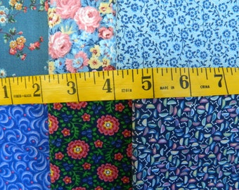 6 Blue Print Cotton Fat Quarters (677E)