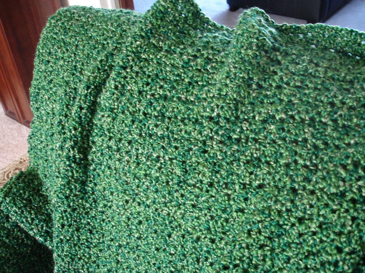 Emerald grass green afghan throw blanket - Emerald green throw blanket ...