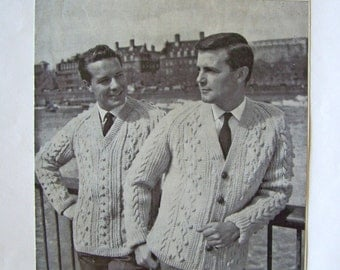 Vintage Knitting Mens Aran Bainin Sweater and Cardigan Pattern by Sunbeam
