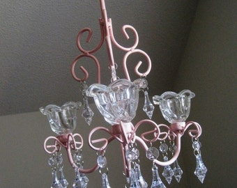 Pink Princess 3 Candle Chandelier MADE TO ORDER