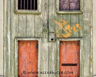 Photograph Print - Katrina X-code Door, New Orleans - French Quarter Decorative Knob big easy nola keyhole mardi gras Green jackson storm