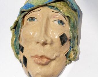 Ceramic mask, Wall Sculpture, Tarot fool, Carnival art, circus, Jester face,