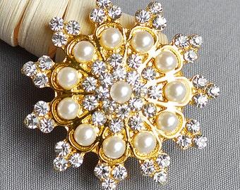 10 Rhinestone Brooch Gold Pearl Crystal Brooch Bridal Brooch Bouquet Shoe Clip Wedding Cake Decoration Invitation Supply BR342