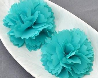 6 Teal Blue Chiffon Flower Soft Chiffon Fabric Silk Rose Flower Bridal Wedding Garter Baby Hair Comb Headband SF104