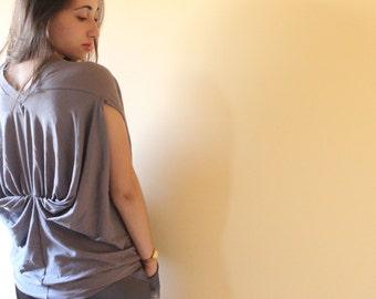 Women top, original origami jersey loose shirt, folded style blouse