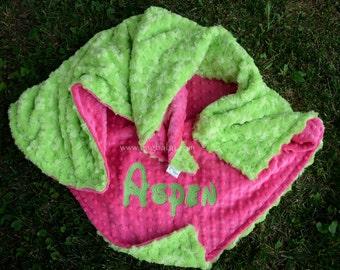Baby Girl Blanket-Hot Pink Minky-Lime Minky Swirl-Personalized-Baby Girl-Toddler-Stroller-Crib Blanket