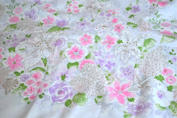 Vintage Border Fabric - Pink and Lavender Floral - Almost 3 Yards