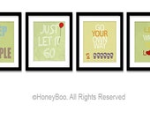 Green Posters Room Decor, typography quote, Happy Quotes Wall Art, Art Prints Set of 4, Positive Inspiring Wall Art