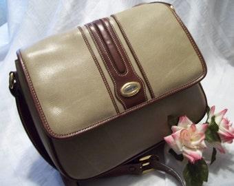 MINT Vintage Carryland Taupe & Chocolate Brown Faux Leather Shoulder Bag - Handbag - Women's -