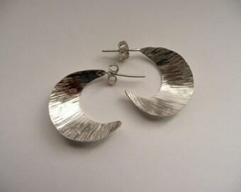 Handmade Hammered Silver Half Moon Earrings