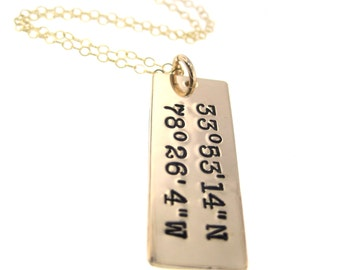 Gold Rectangle Bar with Coordinates Genuine Gold Filled Jewelry