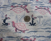 Vintage Feedsack Novelty Juvenile AESOP FABLE Tortoise HARE Rabbit Turtles Feed Sack Quilt Fabric // 36 x 35