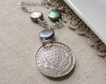 Swimmer Necklace, English Watch Fob Necklace, Sterling SIlver Vintage Pendant, Sterling Medallion Necklace, Vintage Silver Medal, Silver Fob