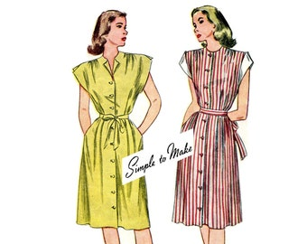 1940s Day Dress Pattern Expandable Front Pleats Short Sleeves Maternity Dress Button Front Simplicity 1588 Bust 30 Vintage Sewing Pattern