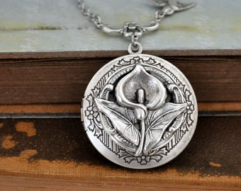 silver locket, flower necklace, lily locket nekclace, CALLA LILY,  antiqued silver locket necklace with sparrow bird