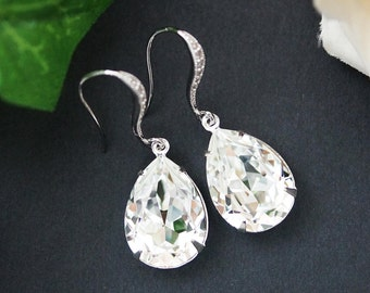 Wedding Jewelry Estate Style Earrings Bridal Earrings Bridesmaid Earrings Dangle Earrings Clear White Swarovski Crystal Tear drop Earrings