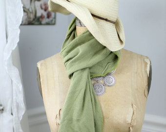 Lush, hand-crocheted scarves made from repurposed cashmere sweaters (in green)