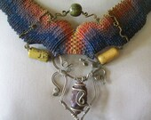 Colorful Vintage Fiber, Metal & Stone Necklace - Peru - Amazon Jungle- Tribal - Ethnic