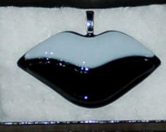 Fused Glass Lips Pendant - white & black