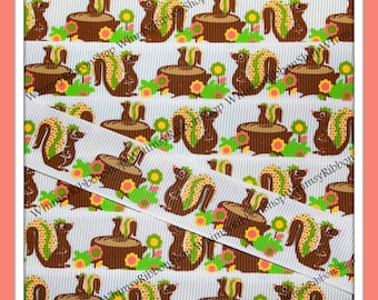 """New 3 Yards 7/8 """" Fabulous SQUIRRELS Trees Fall Friends 2013 Pink Green Yellow Brown on WHITE Grosgrain Ribbon Craft hair bow decor"""