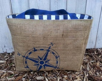 Eco-Friendly Compass Rose Nautical Market Tote Bag, Handmade from a Recycled Coffee Sack