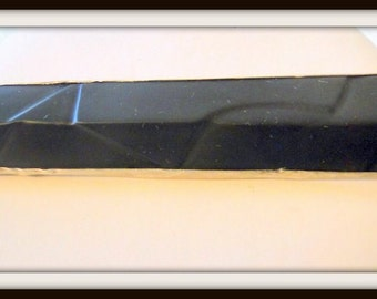 Carved Matte Onyx Sterling Silver Brooch Mid Century MOD OOAK