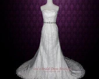 SALE - Strapless Lace Wedding Dress Vintage Lace Wedding Dress A-line Lace Wedding Dress Last Minute Wedding Dress Size 2