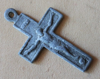 RARE Antique Arma Christi Passion Pectoral Crucifix Skull Crossbones Instruments of The Passion