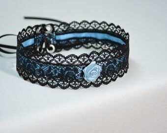 Elegant Textile Choker in Black and Baby Blue, Gothic and Renaissance Lace Satin Necklace with Rose, Baroque