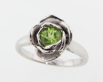 Midsummer Rose Ring, Peridot and Silver