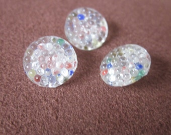 3 Small Painted Pressd Glass Vintage Shank Buttons