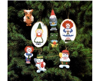 More Holiday Hang Ups Christmas Ornaments Raggedy Ann Rag Doll Frog Gnome Owl Snowman Counted Cross Stitch Embroidery  Pattern Craft Leaflet