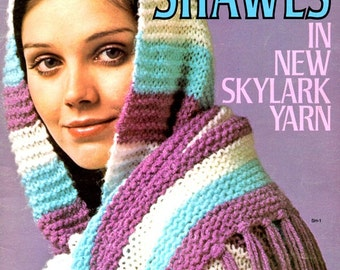 Shawls in Skylark Yarn Granny Square Stripes Matching Hat Cable Lace Crochet Belted Bobble Adult Women Sizes Knit Craft Pattern Leaflet 2548