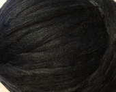 Black Alpaca Tussah Silk Roving Fiber for Spinning and Felting, Black Alpaca Roving, Black Alpaca Silk Roving -  8oz