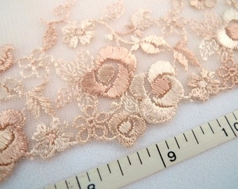 Lace trim, embroidered trim, embroidered tulle trim, floral trim, Brown lace, Lingerie lace, 2 yards BN085