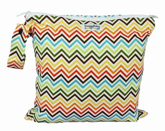 Wet/Dry Bag 2 Pocket Wet Bag with Waterproof Lining and Zipper Opening - Rainbow Chevron - FAST SHIPPING