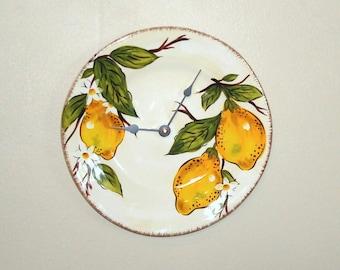 Lemon Plate Wall Clock, Kitchen Wall Clock, Earthenware Plate Clock,  Lemon Clock, Home Decor, Wall Decor - 1953
