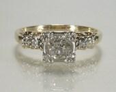 Antique Old European Cut Diamond Engagement Ring - 0.38 Carat