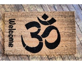 Welcome OM- mantra- Om mani padme hum-  doormat- clean house  zen namaste