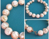 Mother of Pearl Resin Bead Bracelet Wire Wrapped in Brass with Handmade Closure