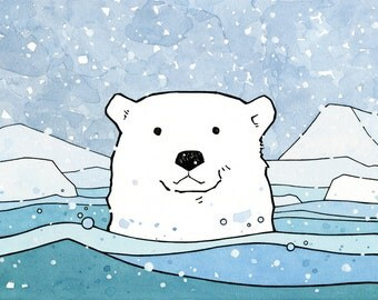 Polar Bear Nursery Print, arctic animal art kids wall art 5x7
