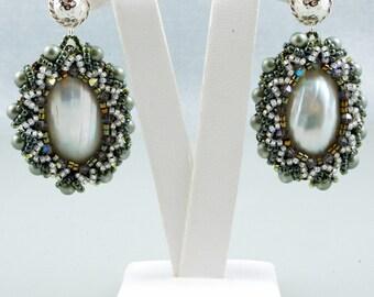 Earrings Osmina Shell Swarovski,  Bead Embroidered, White Green Earrings