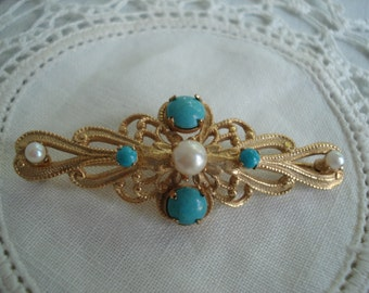 Vintage 1950's Turquoise Gold Bar Pin Brooch Scrolling Genuine Pearls