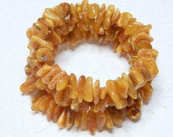 Natural Honey Baltic Amber Memory Bangle Bracelet One Size fits All